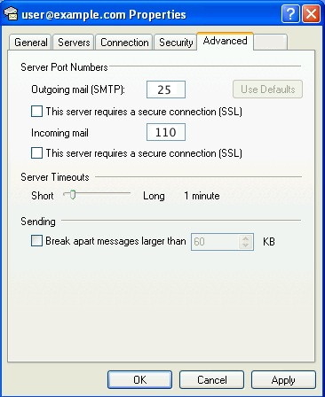outlook advanced_pop3_ssl_no